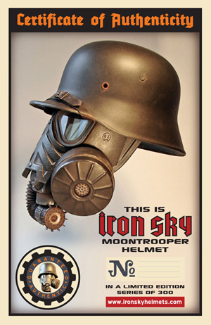 certificate for iron sky moontrooper helmet